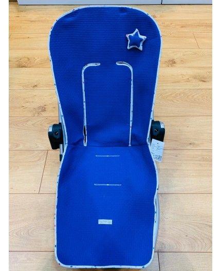 Colchoneta Reversible Silla Ergonómica Azul Motas de Rosy Fuentes